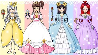 Runa paper dolls Dress up wedding dress  hand made paper crafts animation costume