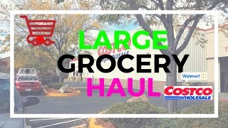 two week grocery haul    costco haul    walmart haul    large family