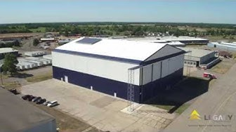 Aircraft assembly hangar, Solar Ship, Inc., drone video fabric structure