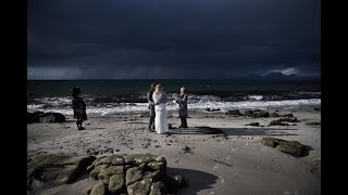 Beautiful beach elopement in the West Coast of Scotland.