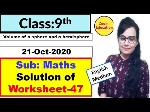 Class 9 Maths worksheet 47 : English medium : 21 Oct 2020 : math worksheet 47 : doe worksheet 47