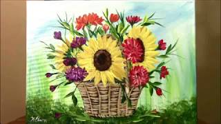 How to paint a Basket of Harvest Flowers for beginners in Acrylic ~ Painting with Wendy