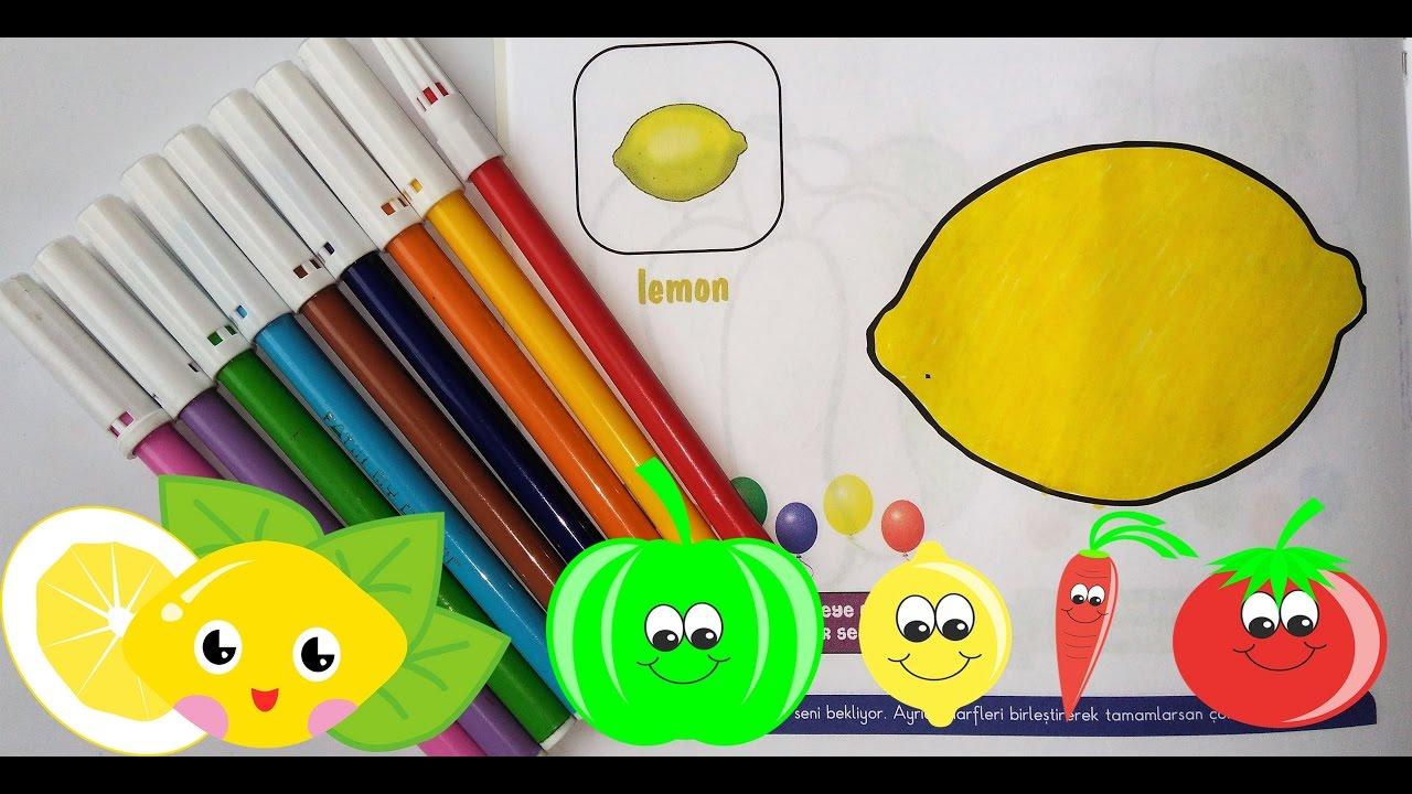 Boyama Boyama Meyveler Boyama Boyama Oyunu Renkleri öğreniyorum