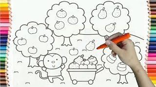 Learning How to Drawing Monkeys Picking Fruit Colorful for Kids - Coloring Pages For Children