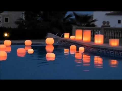 Velas led luz de mallorca velas globo flotantes youtube for Velas flotantes piscina