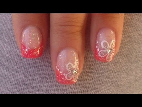 Easy summer nails coral french with flower youtube prinsesfo Gallery