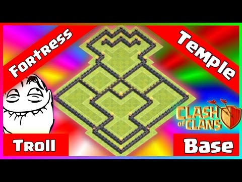 ✅Clash Of Clans: DRASTIC TH8 Troll Base 2017 - Fortress Temple + Loot Replays 2016