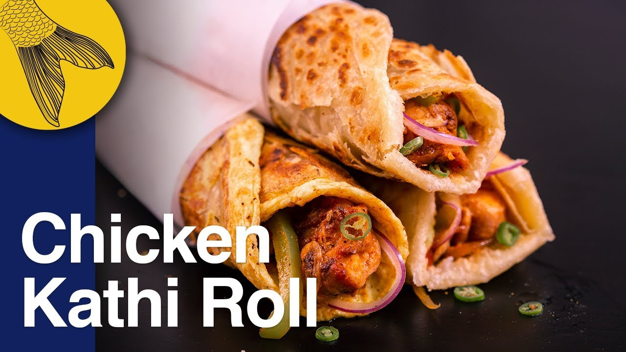 chicken roll recipe—calcutta kathi roll with kabab filling