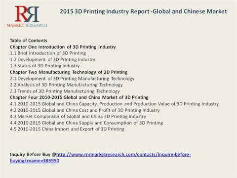 3D Printing Market in China Forecasts for 2015-2020