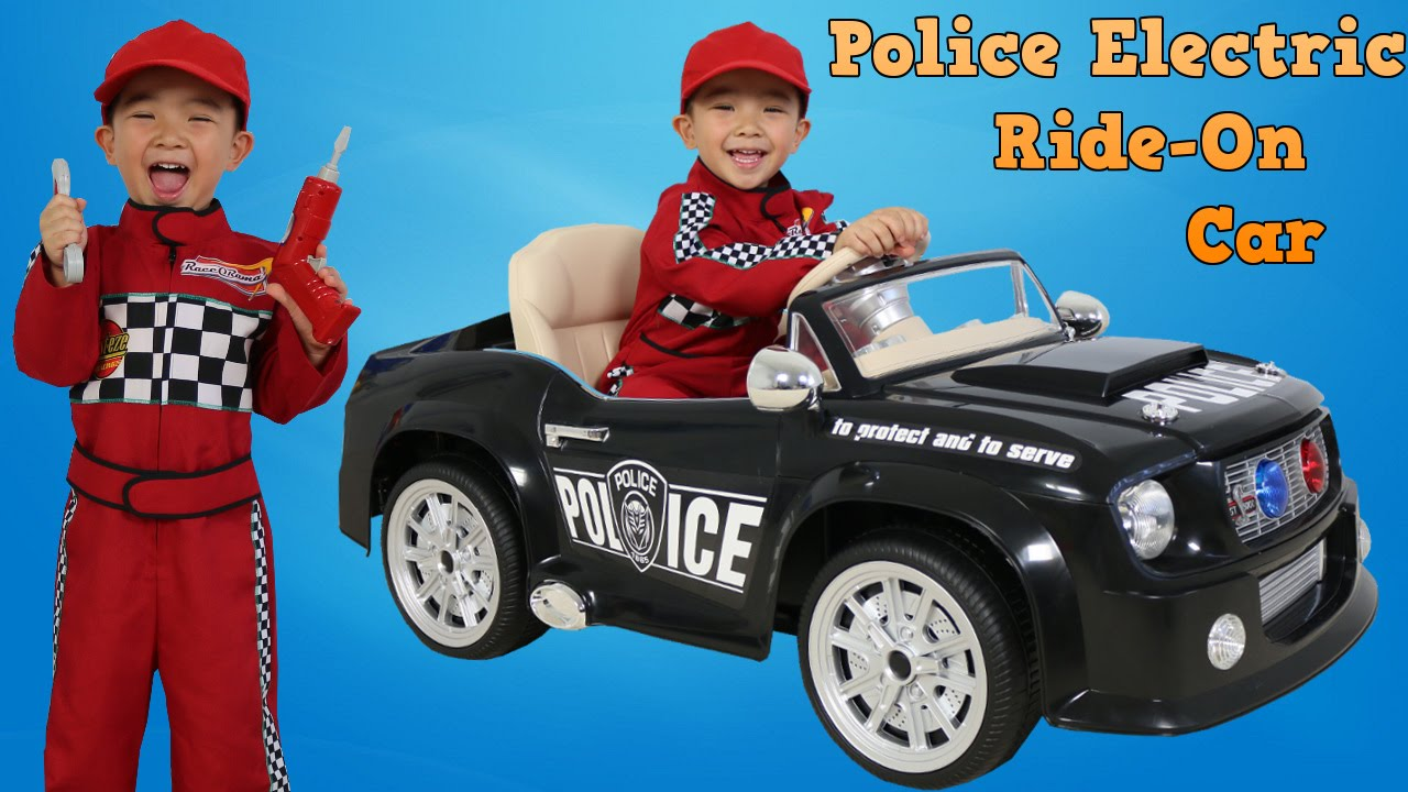 Police Car Electric Ride On Toy Unboxing Fun Park Playtime Lightning Mcqueen Mechanic Disney Cars