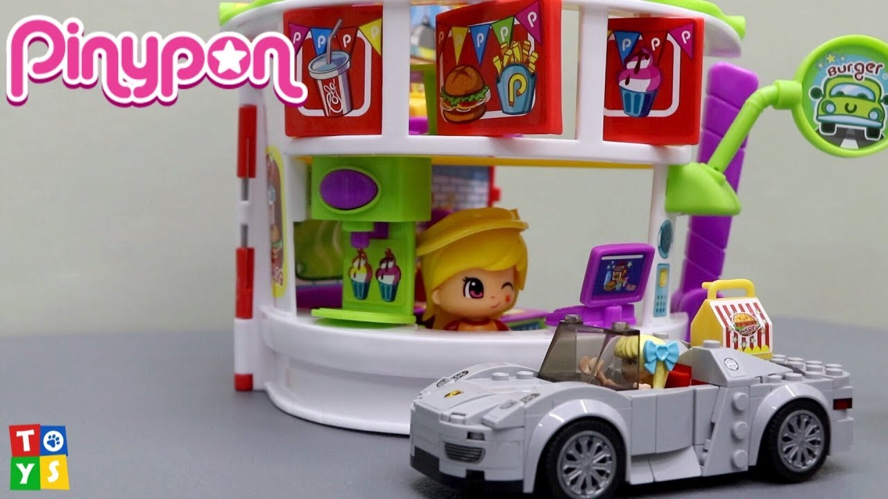 Unboxing And Playing Pinypon Burger Restaurant With