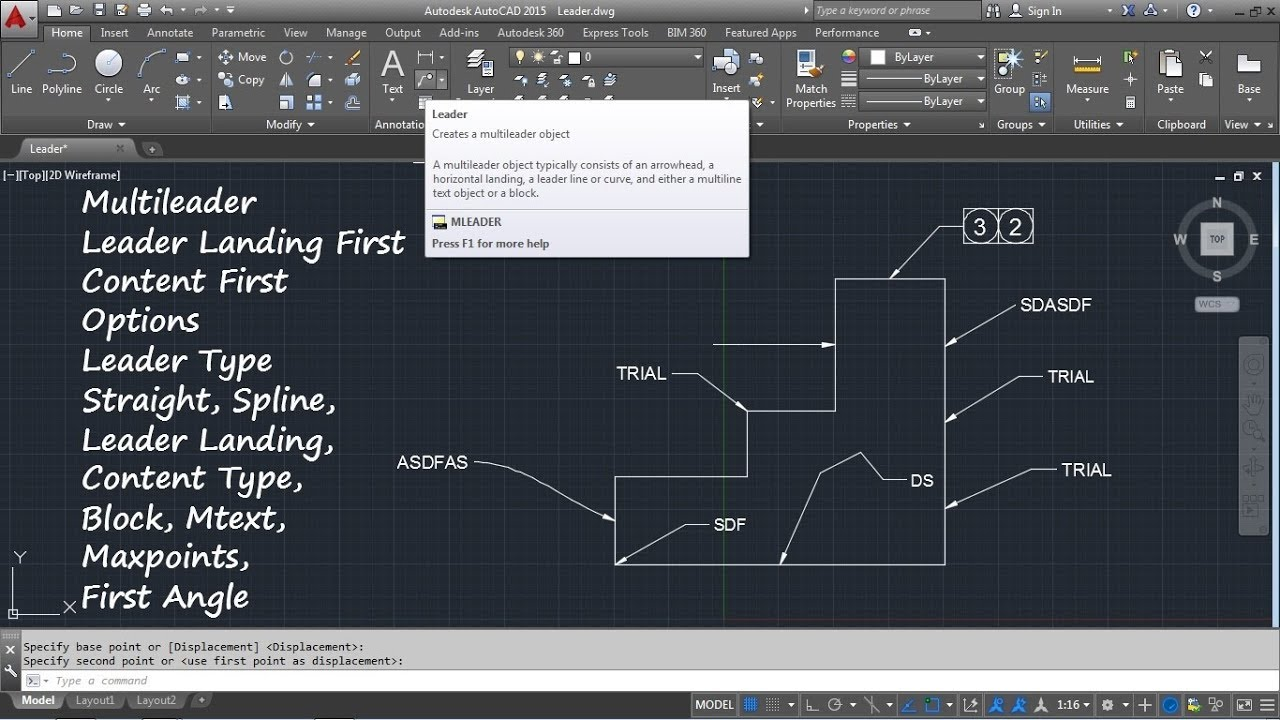 AutoCAD Arrow with Text | AutoCAD Leader Command Tutorial Complete | Curved  Multileader Arrow Size