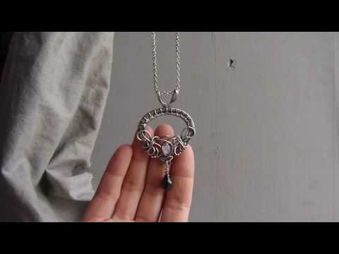 Wire wrapped silver necklace