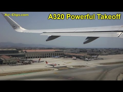 Lufthansa A320 (Winglets) powerful takeoff from Malaga with great city views! [AirClips]