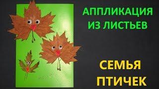 Аппликация из листьев СЕМЬЯ ПТИЧЕК. Поделка в садик