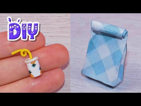 DIY Miniature Lunch Bag Juice How to Make LPS Crafts Stuff Barbie Doll Accessories Dollhouse Things