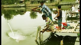 Catch Fish With Hook In Pond By Professional Fishermen. Fishing Village