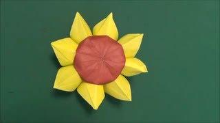 花「ひまわり」3折り紙