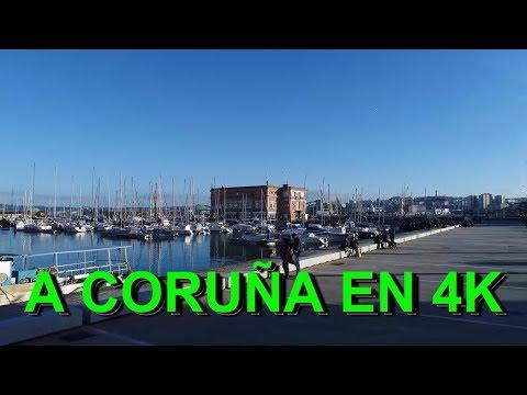 A CORUÑA ZONA CENTRO, PASO A PASO EN 4K.