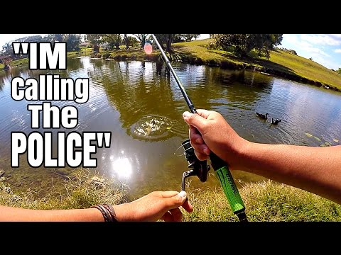 Lady Threatens To Call The Cops...Then a Huge Carp Bites!!