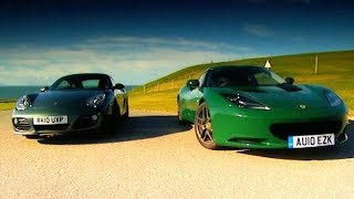 Porsche Cayman VS Lotus Evora Fifth Gear смотреть