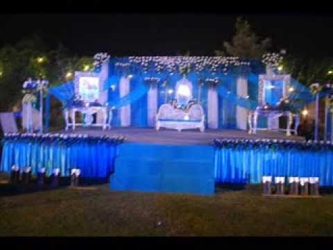 Blue & white decoration in wedding - YouTube