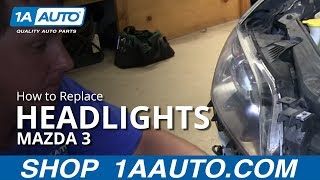 How To Install Replace Change Headlight and Bulb 2004-06 Mazda 3 4 door