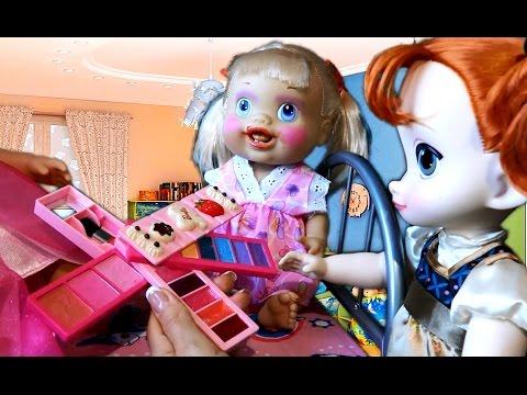 Видео Пупсик baby alive удивительная малышка Анна Эльза делают макияж Игры в Пупсики Косметика Барби