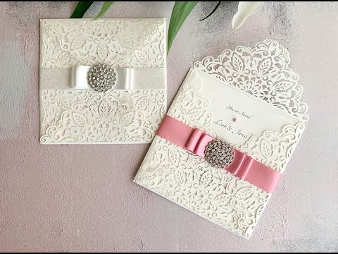 Make Your Own Wedding Invitations – Luxury DIY invitation with rose pink bow & crystal embellishment