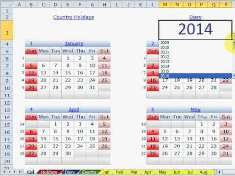Perpetual Calendar Presentation In Excel   Youtube
