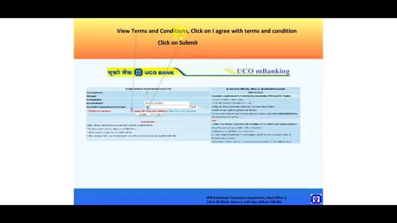 uco bank online net banking form