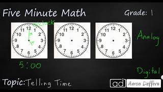 1st Grade Math Telling Time