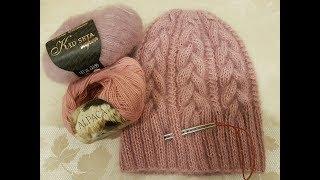 """Мастер-класс Вязаная шапка косами """"Пыльная роза"""" спицами. Knitting cap"""