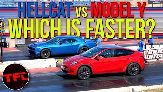 Not Even CLOSE! Can A Tesla Model Y Performance Keep Up With A Dodge Challenger Hellcat Redeye?