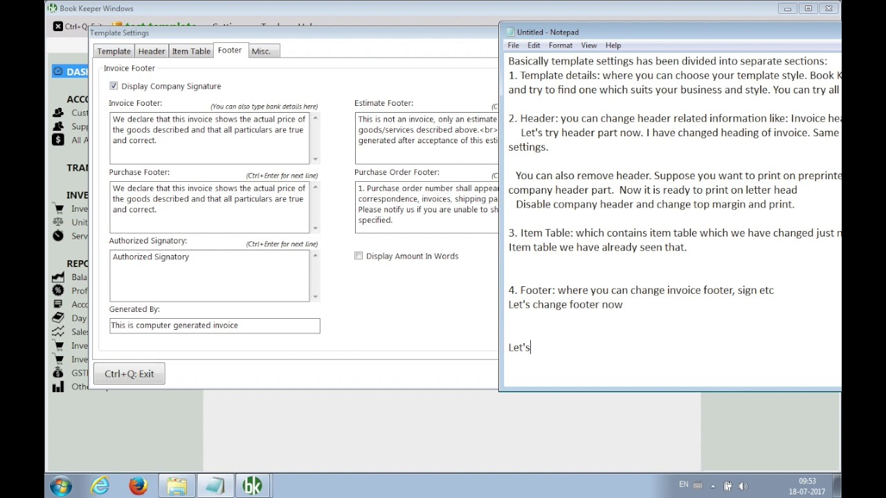 Template Settings In Book Keeper Windows Add Bank Details In - Invoice with bank details