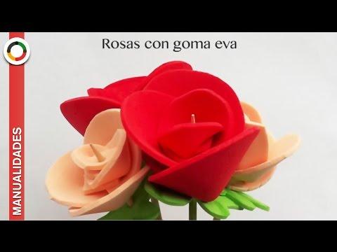 Manualidades fáciles: Cómo hacer ✿✿ ROSAS DE GOMA EVA O FOAM ✿✿