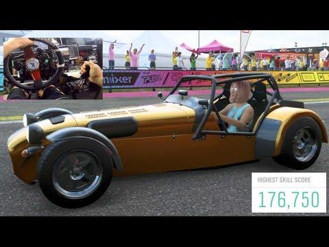 Forza Horizon 4 - FE Skill Chain Challenge Can We Beat 165k?? (Fanatec Wheel) | SLAPTrain thumbnail