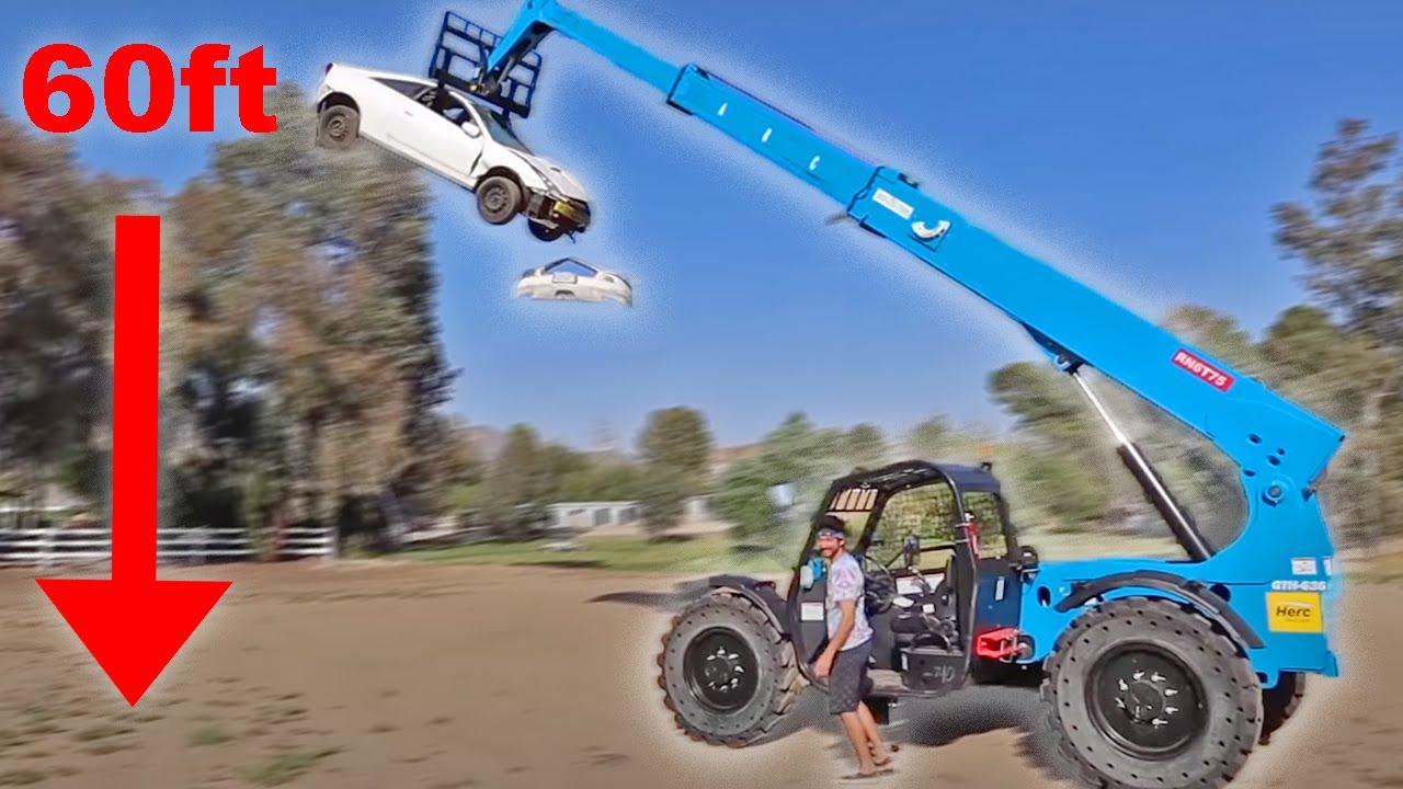 Destroying my car with a Crane!