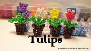 Rainbow Loom Tulip Flowers in the pot Charm - How to - Mother