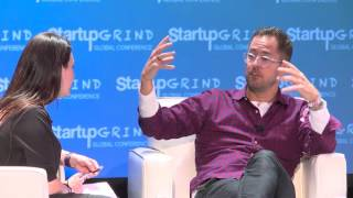 Ryan Smith (Qualtrics), Aaron Skonnard (PluralSight) , Sarah Buhr (TC) at Startup Grind Global 2016