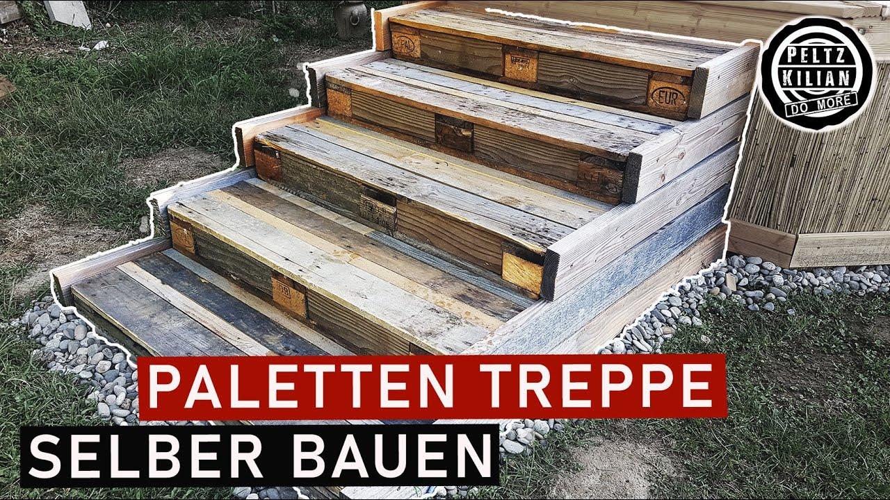 Treppe aus Holz selber bauen   Holztreppe Anleitung   Paletten Treppe   DIY    upcyling