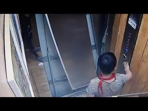 Caught on cam: A boy nearly got injured by dangerous elevator
