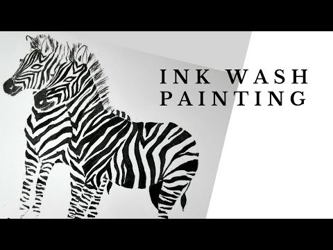 Ink wash | Speedpaint | Zebras | Ink Painting Time Lapse