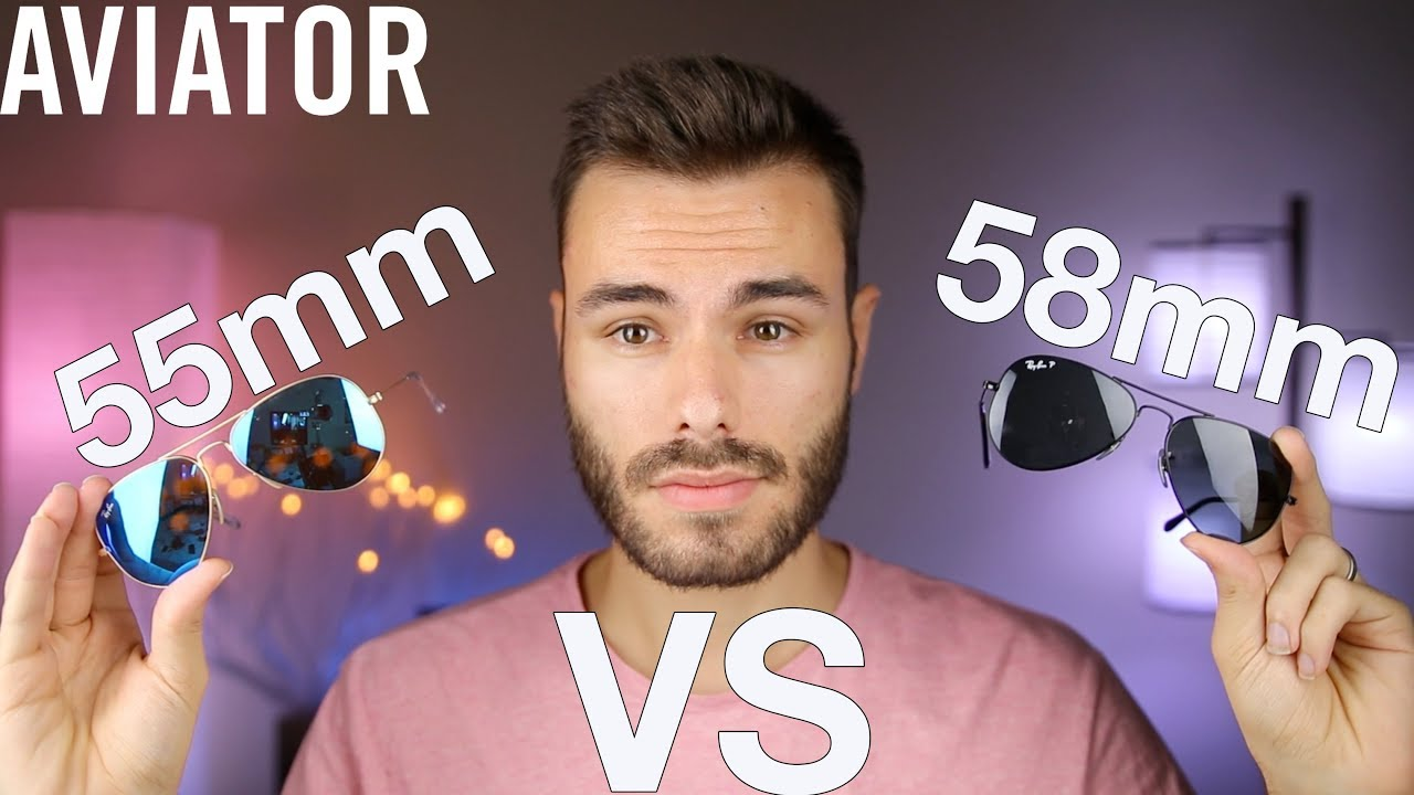 1e141080a6b Ray-Ban 55mm vs 58mm Size Comparison - YouTube