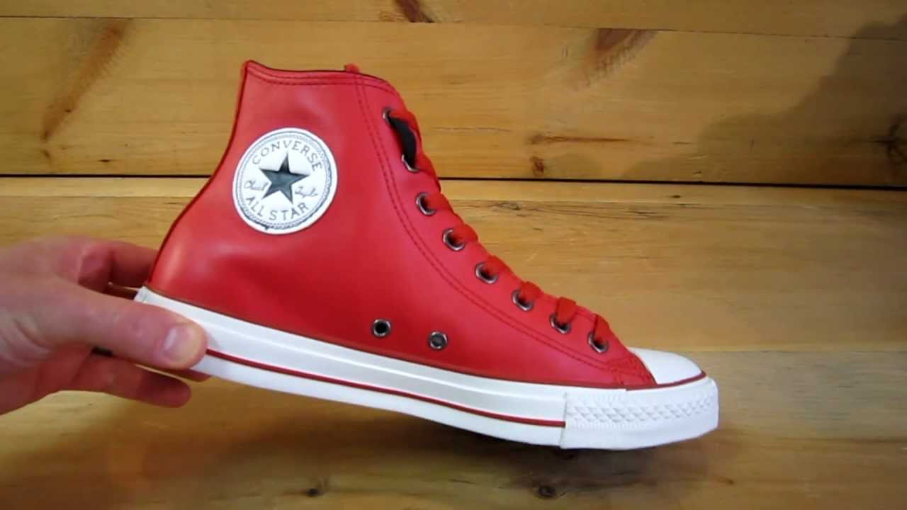 8bdb1785a251 Converse All Stars Chuck Taylor High Leather Red - YouTube