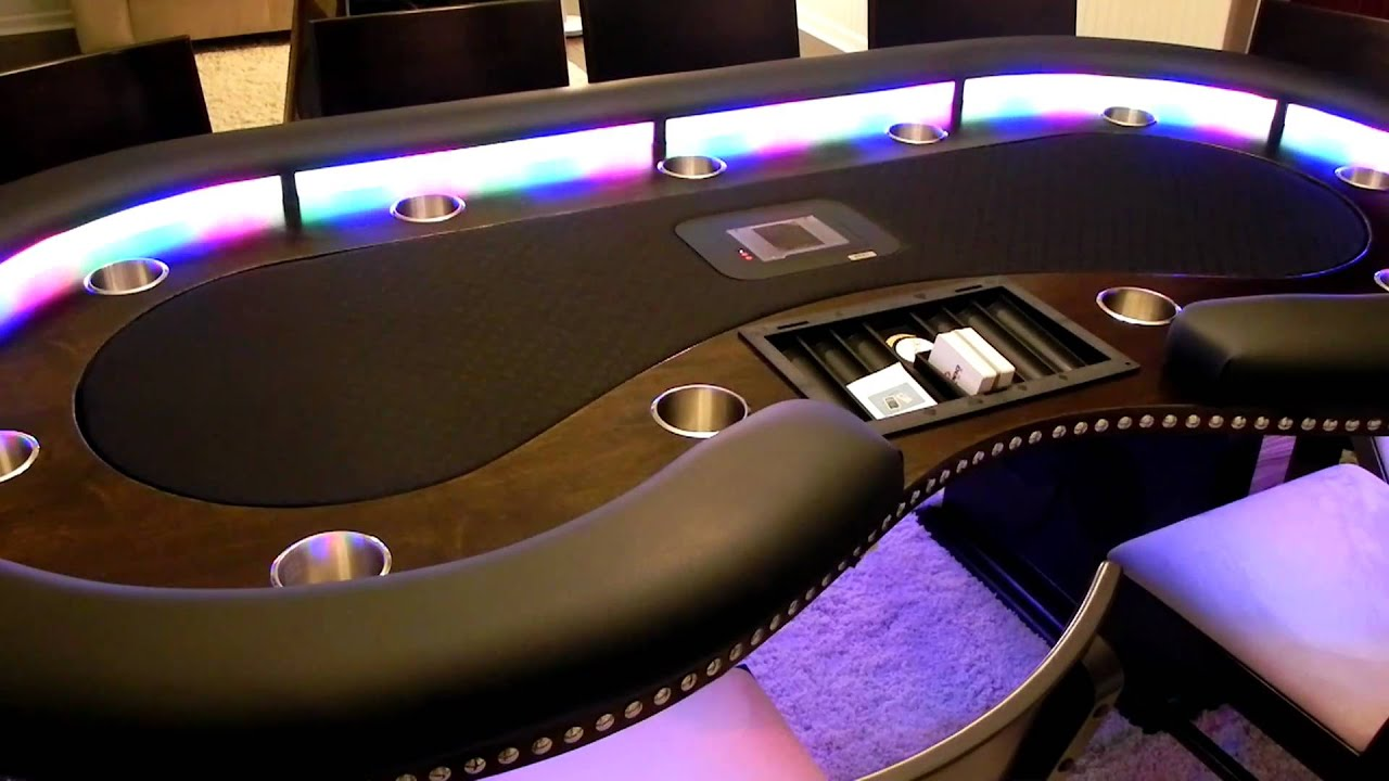 Kidney Shaped Tournament Style Custom Lighted Poker Table