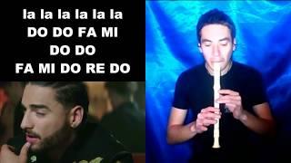 Felices los 4 MALUMA Flauta Dulce NOTAS