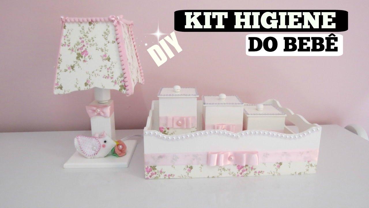 Kit Higiene beb u00ea MDF #ComoFiz YouTube -> Como Decorar Kit Higiene Para Bebe Com Perola