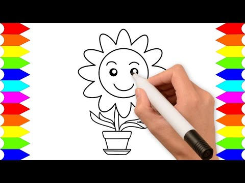 Belajar Menggambar Bunga Matahari Menggambar Bunga Untuk Anak Tk