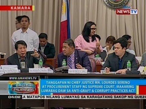 BP: Tanggapan ni CJ Sereno at procurement staff ng SC, maaaring lumabag sa anti-graft & corrupt act